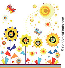 Childish applique with sunflowers - Childish applique with...