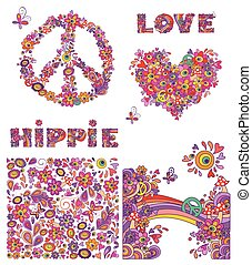 Set for hippie wallpaper with funny butterflies, colorful...