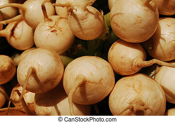 turnips - close up of box of turnips on display at a...