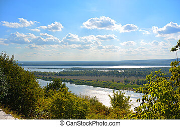 Panoramic view from the hill on the the Volga river near...