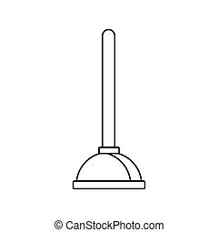Toilet plunger icon, outline style - icon in outline style...
