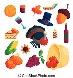 Thanksgiving icons set, cartoon style - Thanksgiving icons...