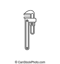 Pipe or monkey wrench icon, outline style - icon in outline...