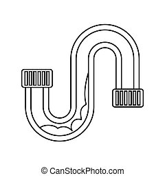 Clog in the pipe icon, outline style - icon in outline style...