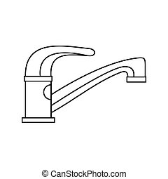 Water tap icon in outline style on a white background vector...
