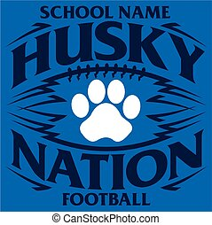 husky nation football team design with paw print inside ball...