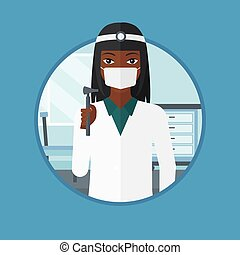 Ear nose throat doctor vector illustration. - An african ear...