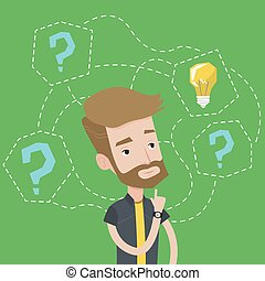 Man having business idea vector illustration.