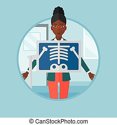 Patient during x ray procedure vector illustration