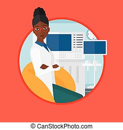Female ultrasound doctor vector illustration. - An...