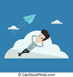 Businessman lying on cloud vector illustration. - Young...