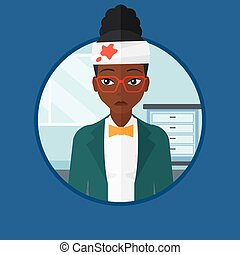 Woman with injured head vector illustration. - An african...