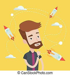 Business start up vector illustration. - Hipster caucasian...