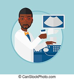Male ultrasound doctor vector illustration. - An...