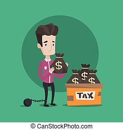 Chained man with bags full of taxes - Chained to a large...
