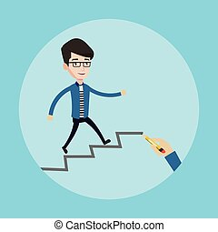 Businessman running upstairs vector illustration. - Young...