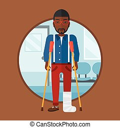 Man with broken leg and crutches. - African-american injured...
