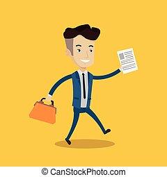 Businessman running with briefcase.
