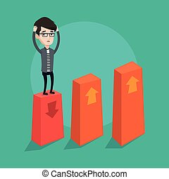 Bankrupt on chart going down vector illustration. - A...