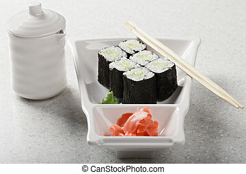 Cucumber maki cut to six pieces served with pickled ginger...