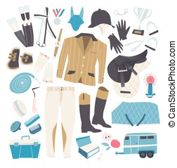 English horse riding clothing, grooming tools and riding...