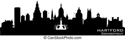 Hartford Connecticut city skyline vector silhouette -...