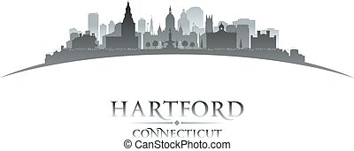 Hartford Connecticut city silhouette white background -...