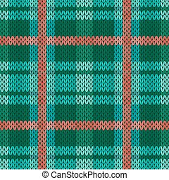 Seamless knitted pattern in green, turquoise and terracotta...