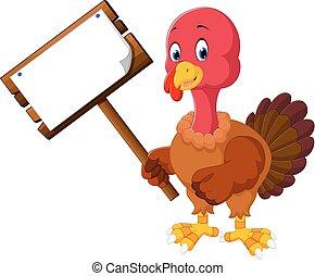 turkey bird cartoon - illustration of turkey bird holding...