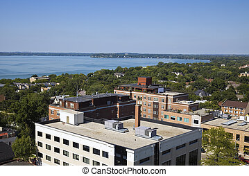 Aerial Madison - panorama with Lake Mendota.