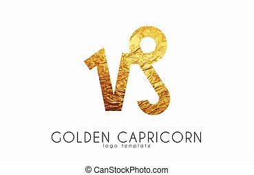 Golden capricorn. Golden zodiac sign. Capricorn zodiac