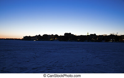 Downtown Madison silhouette - seen from frozen Lake Mendota.