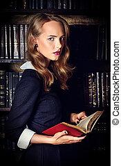 secret doctrine - Beautiful young woman wearing...