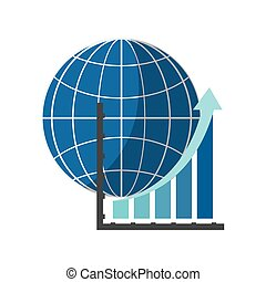 earth globe diagram and graph chart icon