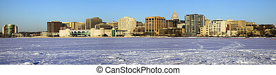 Panoramic morning - Madison, Wisconsin. Seen from frozen...
