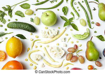 Ingredients for Salad - Vegetables and fruits isolated on...