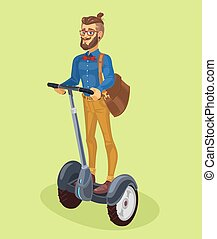 Vector illustration guy using segway - Vector illustration...