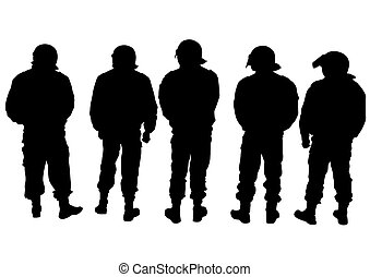 Police men on white background - People of special police...