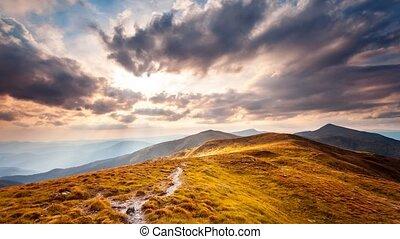 Carpatian summer landscape. Slow motion 4K footage - Summer...