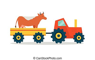 Domestic Animals Carriage Vector Illustration.
