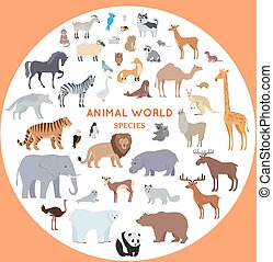 Set of World Animal Species Vector Illustrations. - Set of...
