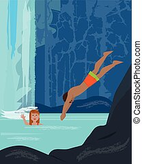 Fun By The Waterfall - Man and a woman are having fun in a...