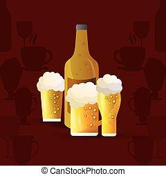 bottle and glass of beer emblem image - flat design bottle...