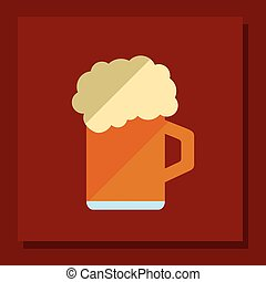 glass of beer emblem image - flat design glass of beer...