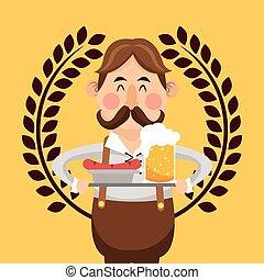 germany oktoberfest beer emblem image - flat design germany...