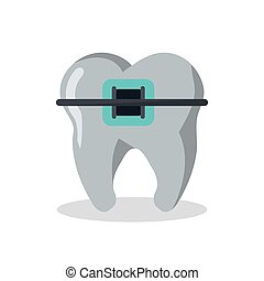 Dental medical and health care design - Tooth with bracers...