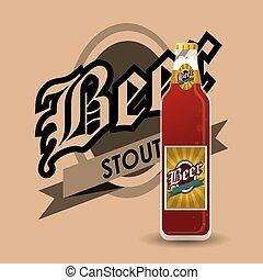 bottle of beer emblem image - flat design bottle of beer...
