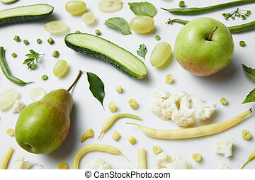 fresh green vegetables and fruits - green vegetables and...
