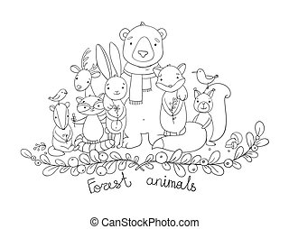 Forest cartoon animals. - Forest animals. Hand drawing...