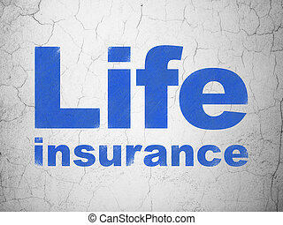 Insurance concept: Life Insurance on wall background -...